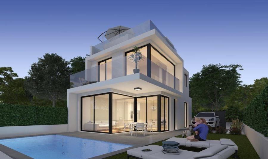 LUXURY 3 BEDROOM DETACHED VILLA IN ORIHUELA COSTA.  The property has a porch, 3 bedrooms, 3 bathroo,Spain